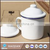 Sublimation enamel cups ,blue or black rim, with coating and metal top