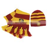Yellow red acrylic knitted beanie hats scarf set with embroidery patch