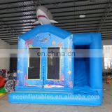 Commercial blue shark china inflatable bounce house with slide