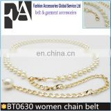 BT0630 High Grade Fashion Lady Waist Chain Women Golden Pearl Waist Belt