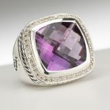 925 Sterling Silver 15mm Amethyst Albion Ring for Women