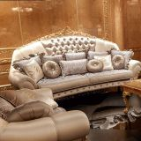 Luxury French Rococo Style Wood Carved Fabric Sofa