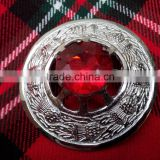 Scottish Piper Plaid Brooch With Red Stone In Chrome Finished Made Of Brass Material