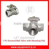 1PC Screwed Ball Valve With Mounting Pad