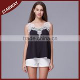New lady Fashionable hollow-out crochet shirt, lace crochet top/