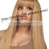 buying from china 100% brazilian remy human hair wig with bang (fringe) women gold color real hair long wig with fringe