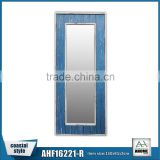 Bedroom Wall Hung/Standing Long Mirror Frame Home Decorative Blue Wooden Dressing Frame Mirror