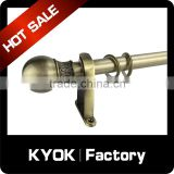 KYOK 0.5mm competitive price ball shape curtain pole,thick wooden curtain poles,stainless steel material curtain rod in China