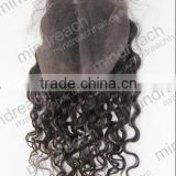 MR hair, wholesale loose wave nature color virgin remy Brazilian hair lace base closure middle parting lace closure