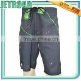 Men 4 way stretch Heat transfer sublimation Placement Printed Board Shorts with wax comb