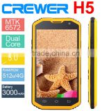 CREWER H5 Waterproof Phone 5 inch IPS Screen 512MB RAM 4GB ROM Android 4.4 3G WCDMA GSM Dual Sim Smart Phone