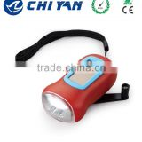 ISO9001 Certificated high quality direct manufacture colorful led torch solar dynamo flashlight