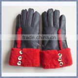 Sell Top Quality Ladies Fashion Sheepskin Fur Gloves,Fur Lined Leather Gloves For Winter
