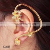 2015 latest crystal diamond gold cuff butterfly shape fashion girls earrings
