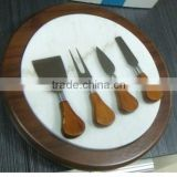 Marble Chopping Block Wooden Cutting Board Set with 4 Cheese Slicers and Knife Holder Drawer