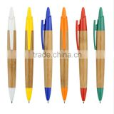 Eco-frienfly Bamboo barrel with solid color/ silver plated plunger ball point pen for school