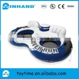 giant double rings water sports pvc inflatable pool float lounger/ inflatable lake float/ water air bed/