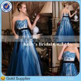 Princess Style Appliqued Lace Beaded Blue Lace Wedding Dress