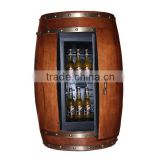Unique Classic Wood Furniture Wood Barrel Fridge Wine Beer Liuqor Cabinet Refrigerator