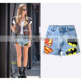 2016 Summer Fashion Women Denim Shorts Ladies Graffiti Printing Punk Style Fringed Hem Breasted High Waist Hip Hop Pants