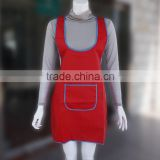 Long strap short clear waterproof brown leather apron