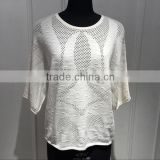 BGAX16144 Women round neck cotton poncho , hallow out and special pattern knitting pullover sweater