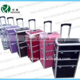 aluminum trolley cosmetic case with drawer jewelry box rolling makeup case with drawer