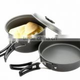 8 Pcs/Set Outdoor Cookware Portable Cooking Pots Pans Bowls Camping Hiking Picnic Aluminum Alloy Cooking Set