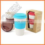 2016 new product innovative design bamboo fiber coffee cup with drinking straw