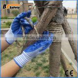 BSSAFETY blue zebra knitted cotton blue nitrile Coated Work Abrasive Slip Resistant Hand Glove For Construction Work