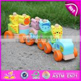 2015 Hot sale Wooden Blocks Train Set Toys Animal Vehicles Toys,Cute wooden animal blocks train toy,Pull Line Train Toy W04A066