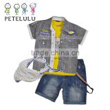 summer kids boys fashion clothes outfits sets european design t -shirt +denim vest + jeans wholesale denim shorts