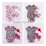 Infant baby outfits baby romper+matching shoes+headband three piece sets kids clothing suits