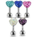 316l surgical steel heart cz stone Tongue Barbell anodized industrial body piercing jewelry, fashion tongue barbell,tongue rings