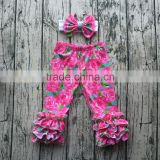 Children Remake Ruffle Floral Long PantsWith Bow Baby Girls Boutique Fall Icing Leggings Kids Winter Cotton Clothes