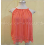 Women customized Fashion Simple Basic Sheer Chiffon Blouse T-Shirt quality polystyle linen maternity