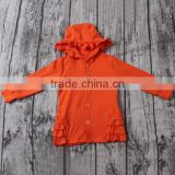 latest wholesale orange cardigan with hood and ruffles name brand kids clothing wholesale