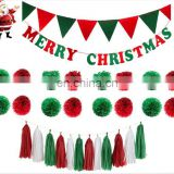 Merry Christmas Banner with Flag and Tissue Paper Tassel Pom Poms Christmas Party Decoration Festival Party Backfrop