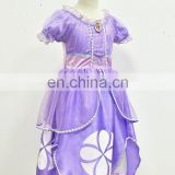 Free Shipping 2014 Princess Sofia Dress Girls Sofia the First Princess Sofia Children's Wear Purple Party Dress For Christmas
