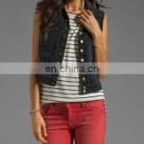 Fashion women denim vest Washed Sleeveless Snap black denim Jacket