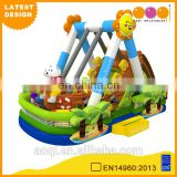 2016 AOQI latest design cute style toy inflatable swing pirate boat with inflatable bouncer slide for sale