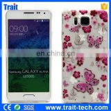 No MOQ Diamond decorate Soft TPU Case For Samsung Galaxy Alpha SM-G850F SM-G850A