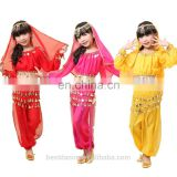 BestDance wholesale girls belly dance wear kids belly dance wear set long blouse top, belt and pants OEM