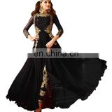 Stylish Women's Black Color Party Wear Anarkali Suits With Flairs Dress Material 2017 (Semi-Stitched)