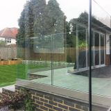 Exterior Frameless Glass Deck Railing with Aluminum U Channel Profile / U Base Shoe Glass Balustrade