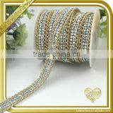 Hot fix 2 rows green resin stones trimming iron on glitter trim alloy rhinestone chain FHRS-014