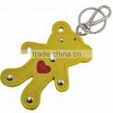 Bear shaped Leather Keychain with hook for bag