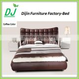 Luxury Bedroom Furniture King Size Bed Leather Material Wooden Frame Leather Bed With Storage Cheap Price