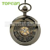 Topearl Jewelry Gold Roman Numbers Dial Pocket Watch Mechanical Black Pocket Watch LPW645