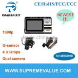 Newest car camera 3inch TFT 1080p GPS G-sensor 2CH support multi-function with H.264 compression dual camera car dvr